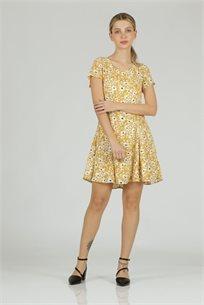 שמלה מיני פרחוני חרדל - CUBiCA