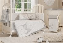 סט מצעים 3 חלקים למיטת תינוק פו הדב אפור/לבן