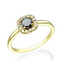 טבעת זהב צהוב בשיבוץ יהלומים שחורים 0.71 קראט