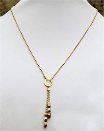 ייחודו של תכשיט! שרשרת לוריין צמודה ועדינה בציפוי גולדפילד איכותי עם תליון חרוזים בשלושה צבעים