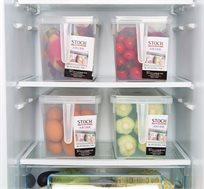 סט 4 קופסאות אחסון למזון בעלות ידית אחיזה ומכסה לסדר במקרר או במזווה עשויות PVC