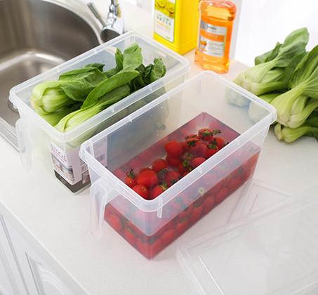 סט 4 קופסאות אחסון למזון בעלות ידית אחיזה ומכסה לסדר במקרר או במזווה עשויות PVC - תמונה 2