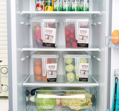 סט 4 קופסאות אחסון למזון בעלות ידית אחיזה ומכסה לסדר במקרר או במזווה עשויות PVC - תמונה 6
