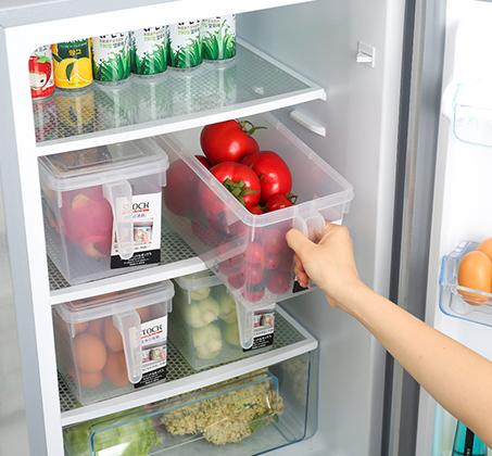 סט 4 קופסאות אחסון למזון בעלות ידית אחיזה ומכסה לסדר במקרר או במזווה עשויות PVC - תמונה 4