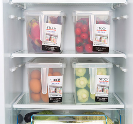 סט 4 קופסאות אחסון למזון בעלות ידית אחיזה ומכסה לסדר במקרר או במזווה