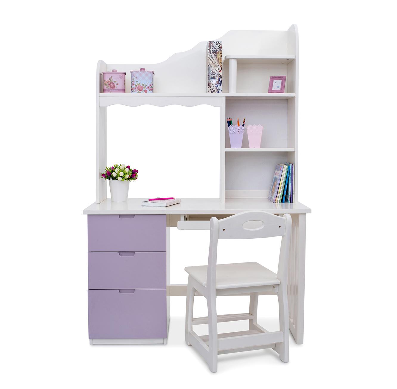 שולחן עבודה/כתיבה משולב ספרייה לחדרי ילדים בעיצוב קלאסי דגם יהלי בצבעים לבחירה HIGHWOOD - תמונה 3