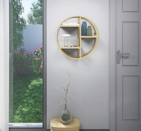 מעמד קיר מעוגל בעיצוב מודרני בצבע זהב דגם רוברטו