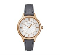 שעון יד בעיצוב קלאסי לאישה TIMEX עשוי פלדת אל חלד ורצועת עור, עמיד במים עד 30M