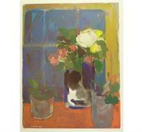 """""""הפרח הלבן"""" - ציורו של פימה אפרים, ליטוגרפיה בחתימה אישית בגודל 69X50 ס""""מ"""