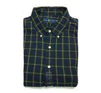 חולצה מכופתרת עם שרוול ארוך לגבר POLO RALPH LAUREN CLASSIC FIT מידות גדולות עם משבצות כחול צהוב ירוק