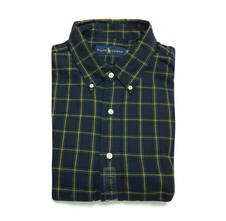 חולצה מכופתרת POLO RALPH LAUREN CLASSIC FIT מידות גדולות - משבצות כחול צהוב ירוק