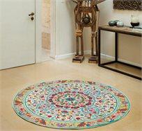 שטיח צמר עגול עבודת יד פרחים קטנים במגוון גדלים לבחירה