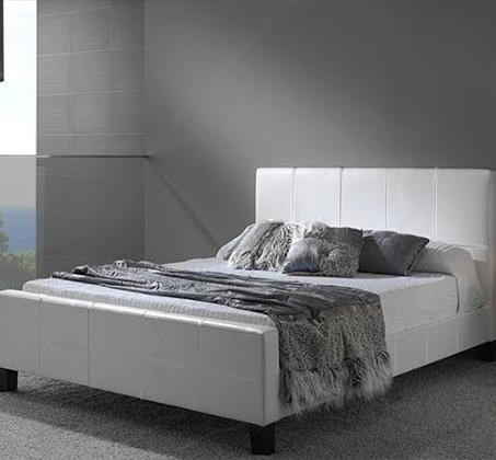 מיטה וחצי GAROX בריפוד עור רך למגע 120X190 דגם BLANCO - משלוח חינם