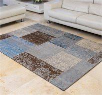 שטיח לסלון בעבודת יד ג'אקרד פאטצ' בצבע חום כחול מגוון גדלים לבחירה
