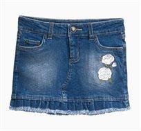 חצאית ג'ינס לילדות בצבע Medium Wash עם רקמה פרחונית