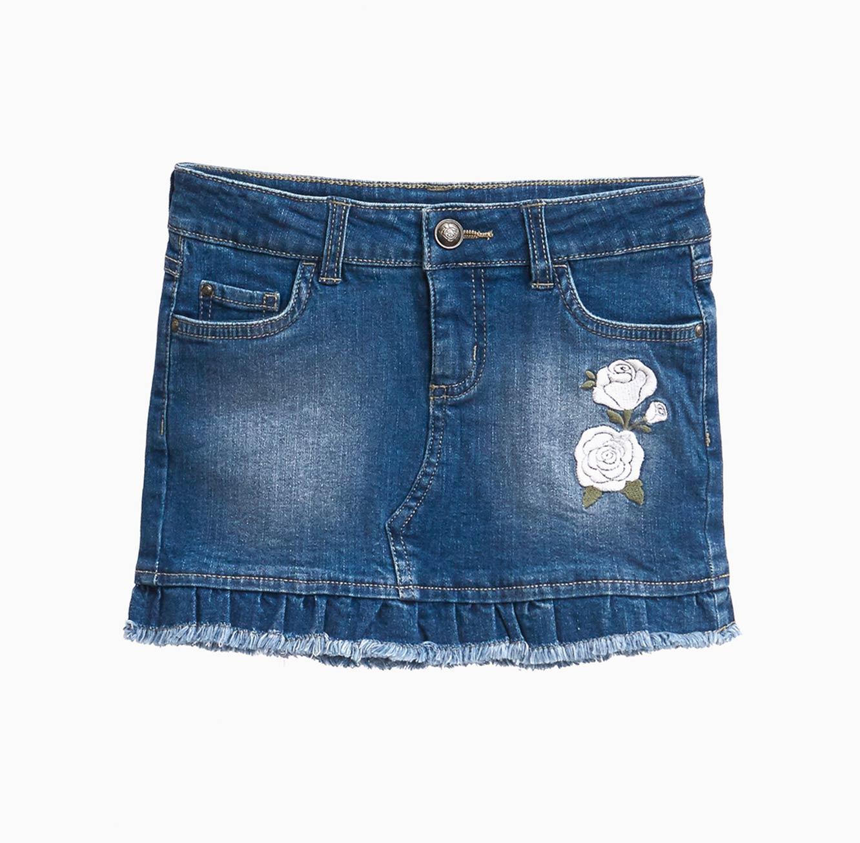 חצאית ג'ינס OVS לילדות עם רקמה פרחונית