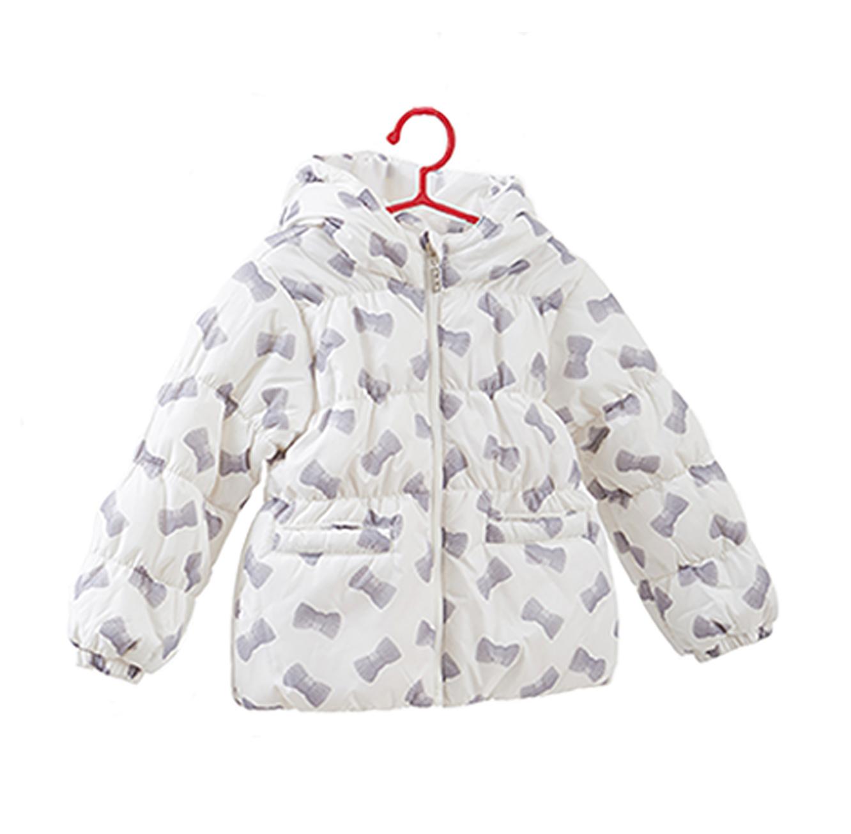 מעיל OVS עם כובע והדפס לילדות בצבע לבן