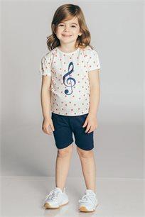 חליפת טריקו בהדפס מוזיקה עם נקודות לבנות Kiwi בצבע כחול כהה/לבן