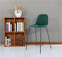כסא בר בעיצוב מודרני לפינת האוכל עם רגלי מתכת וריפוד קטיפה בצבעים לבחירה