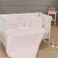 סט מצעי פרימיום 3 חלקים למיטת תינוק 100% כותנה - נסיכה ורוד