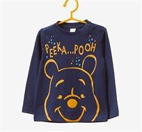 חולצה עם שרוולים ארוכים והדפס פו הדוב לילדים בצבע כחול נייבי
