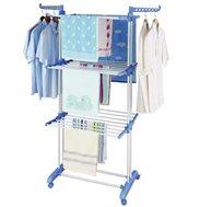 מתקן לייבוש כביסה עם 3 קומות לתלייה נוחה של מרבית סוגי הכביסה, וגלגלים לניוד קל