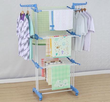 מתקן לייבוש כביסה עם 3 קומות לתלייה נוחה של מרבית סוגי הכביסה, וגלגלים לניוד קל - תמונה 2