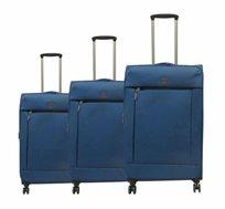 swiss travel סט 3 מזוודות superlight כחול