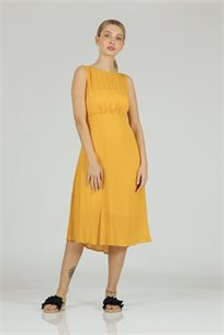 שמלה חור בגב צהוב -
