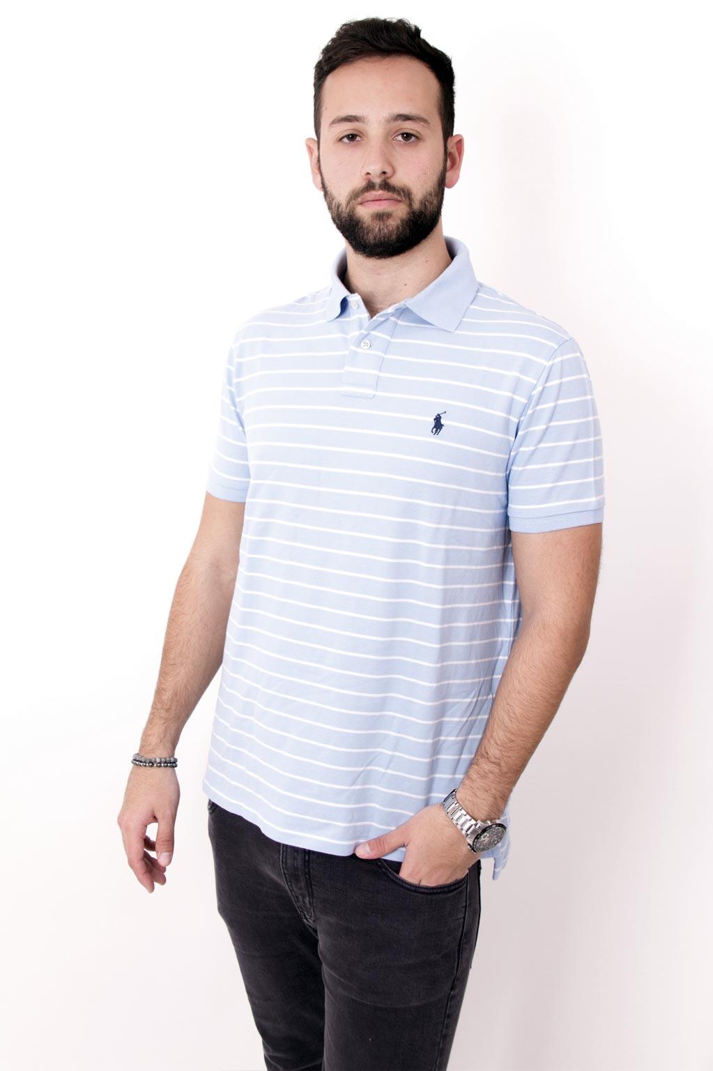 חולצת פולו תכלת CUSTOM FIT פסים לבנים לוגו כחול POLO RALPH LAUREN