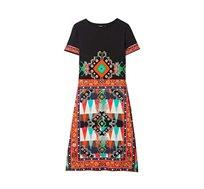 שמלה עם שרוולים קצרים לנשים דגם Josphinne - שחור/אדום