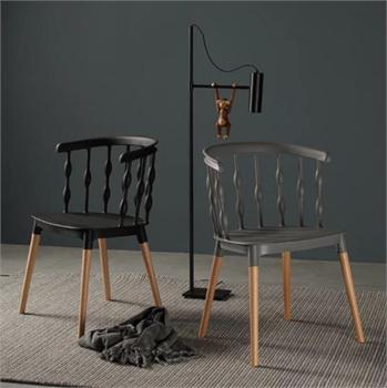 כיסא מעצבים בצבע כחול שילוב של עץ ופלסטיק - תמונה 2