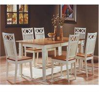 פינת אוכל נפתחת מעץ מלא משולב כוללת שולחן ו-6 כסאות HOME DECOR