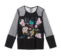 חולצה ארוכה בהדפס פרחוני בשילוב תחרה לנשים Desigual דגם Floral בצבע שחור