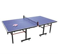 שולחן טניס פנים מבית General Fitness עם קיפול צמוד וחסכוני + סט מחבטים ו-3 כדורים מתנה