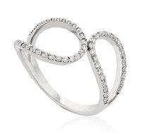 טבעת מעוצבת ומרשימה זהב 14K משובצת יהלומים במשקל כולל של 0.43 נקודות