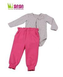 קולקציית חורף 2015 ב-Minene! חליפת בנות הכוללת בגד גוף אפור מילאנז' לבבות + מכנס ורוד