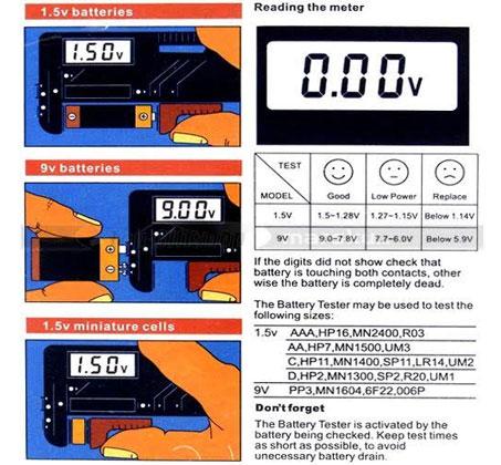 בודק סוללות דיגיטלי מתאים לסוללות C,D,AA,AAA, סוללות מטבע וסוללות 9V  - תמונה 3