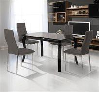 פינת אוכל SIRS בעיצוב מודרני המשלב זכוכית מחוסמת ועץ מאסיבי כולל  שולחן ו-4 כסאות בריפוד דמוי עור!