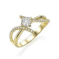 """טבעת אירוסין זהב צהוב """"מייגן"""" 0.72 קראט יהלומים"""