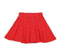 חצאית ג'רזי מסתובבת עם חגורה מגומי רך - אדום נקודות