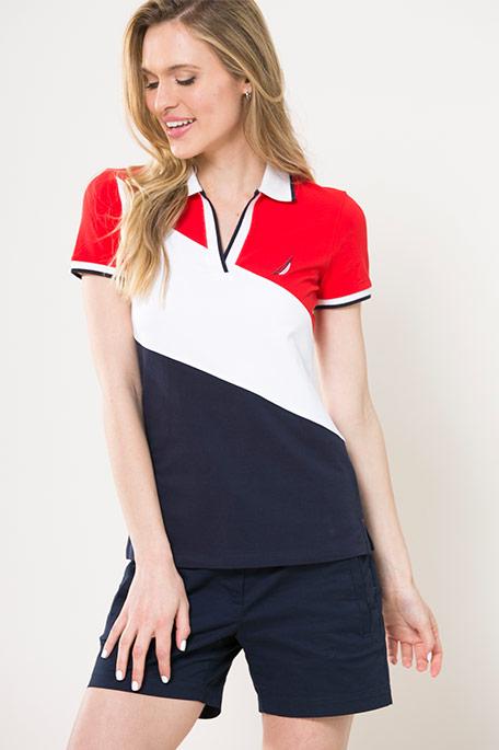 חולצת פולו לנשים - כחול/לבן/אדום