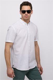 חולצה מכופתרת הדפס אול אובר בשילוב פשתן