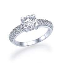 """טבעת אירוסין זהב לבן """"נטליה"""" 1.85 קראט בשיבוץ 61 יהלומים"""