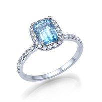 טבעת יהלומים זהב לבן בשיבוץ טופז כחולה ויהלומים