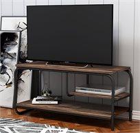 שידת טלוויזיה מעוצבת לסלון כוללת מדף לממירים ושלטים