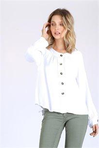 חולצה מכופתרת סאטן במפתח עגול - לבן - CUBiCA