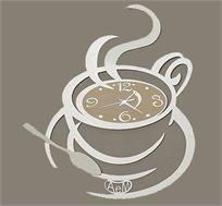 שעון קיר מתכת בעיצוב כוס קפה