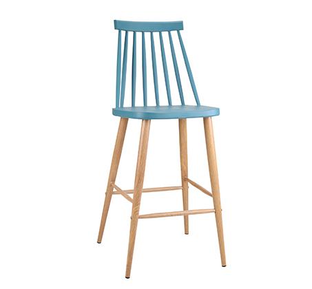 כסא בר במראה עץ לפינת אוכל בעיצוב מודרני בצבעים לבחירה  - תמונה 3