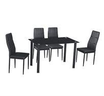 פינת אוכל המשלבת מתכת וזכוכית כוללת שולחן ו-4 כסאות דגם רומא Homax